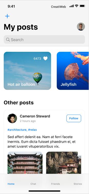 interfaz de usuario ejemplo creatiweb